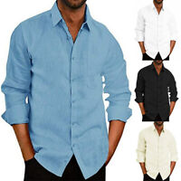 Men's Long Sleeve Button Down T-shirt Tops Slim Fit Casual Dress Stylish Shirts