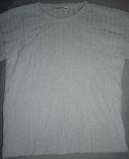 Pullover Pulli fein gestrickt Strick, modisch, grau-blau, Streifen-Muster, Gr. L