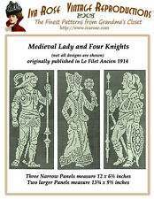1914 Filet Lace Charts Medieval Lady and  Four Knights