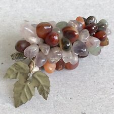 VTG BUNCH OF STONES GRAPES Polished Stone Crystal Cluster of Grapes Bar Ornament