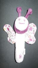 Doudou hochet pouet pouet papillon blanc violet à fleurs OBAIBI