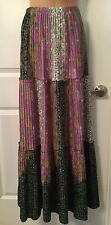 Women's TONI TODD Skirt One Size Hippie Bohemian Green Purple Pleated Flare Z3