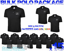 Personalised Embroidered Work Wear Package Polo Shirt x15 Bulk package