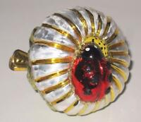 """Flower Gold & Silver, Ladybug Clip On Glass Christmas Ornament, 2 3/4"""""""