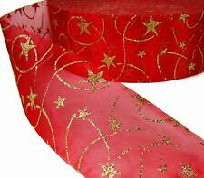 "10 Yds Red Gold Glitter Swirl Stars Sheer Ribbon 2 3/4""W"