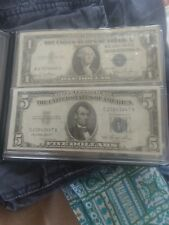 Blue seal $1 and $5 dollar bills silver certificates