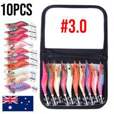10 SQUID JIGS LURE 3.0 EGI GLOW TAIL Tackle Calamari Squid Jig Fishing Lures
