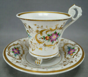FA Schumann Berlin / Nathusius Hand Painted Floral & Gold Cup & Saucer 1826-1860