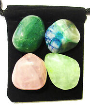 LUNG AID Tumbled Crystal Healing Set = 4 Stones + Pouch + Card