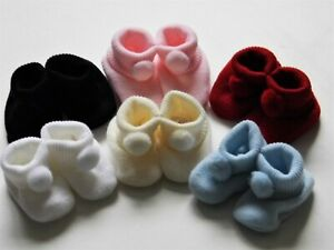 BABY GIRL / BOY SOFT BOOTIES WITH POM POM 0 - 3 MTHS (APPROX)