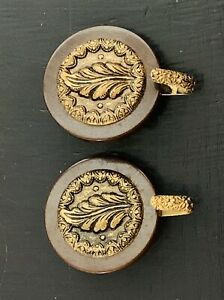 Vtg Matching Bakelite Set Large Coat Buttons w/ Gold Leaf Embellishment & Hooks