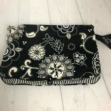 """Thirty-One 31 Black White Floral Jewelry Make Up Travel Fold Bag  11.5"""" x 8.5"""""""