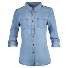 Women's Soft Denim Slim Fit Long Sleeve Button Up Shirt Light Blue Collar S~L