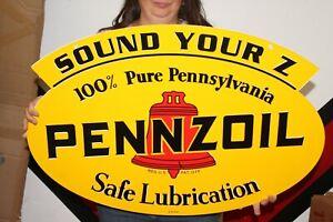 """Large Pennzoil Motor Oil Sound Your Z Gas Station 2Side 31"""" Porcelain Metal Sign"""