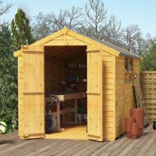 10x6 Overlap Wooden Shed Windowed Double Door Apex Roof & Felt Garden Storage