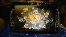"Vintage/Antic Large Toleware Tray 21"" x 14"" x1 3/8"" Serving Tray Hand Painted &"