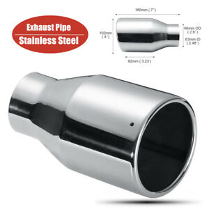 For Car 63mm-102mm Stainless Steel Silver Car SUV Exhaust Pipe Muffler End Tip