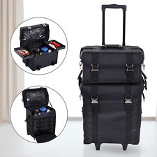 HOMCOM Beauty Trolley W/ Wheels Handle Make-up Bag SuitCase Cosmetic Box Black