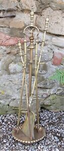 Antique brass fire irons, hearth set, hearth tools, companion set , French