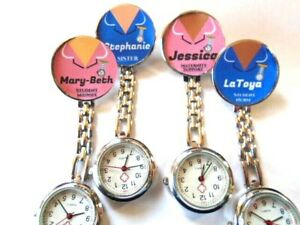 Nurse Watch Clip On Brooch PERSONALISED NAME OCCUPATION Pink Blue Nurse Uniform
