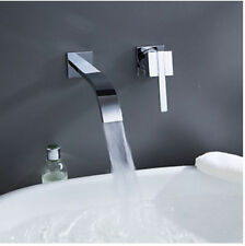 Wall Mounted Small Waterfall Bathroom Basin Faucet Single Handle Sink Mixer Tap
