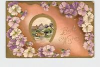 ANTIQUE POSTCARD BEST WISHES HORSE SHOE FLOWERS PASTORAL SCENE EMBOSSED