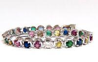 10.30ct natural ruby emerald sapphires diamond tennis bracelet 14kt gem line