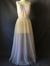 Vintage Carters Double Sheer Chiffon Nylon Pink Blue Big Sweep Nightgown Sissy L