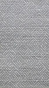 Geometric Gray/ Silver Modern Moroccan Oriental Area Rug Hand-Knotted WOOL 5x8