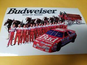 Bill Elliott Budweiser Clydesdales  1992 Winston Cup   Fan Club Postcard