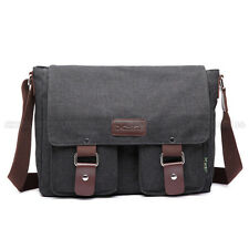 Men's Leather Canvas Laptop Messenger Shoulder Bag  Business Briefcase Satchel