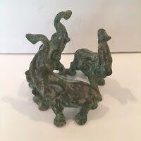 Vintage Interlocking Three Elephants Brass Figure Sculpture Plant Candle Stand