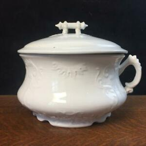 Antique W.C. CO. Semi-porcelain Iron stone Chamber Pot Handle Commode Bowl & Lid
