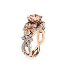 2Ct Cushion Cut Peach Morganite Floral Engagement Ring 14K Rose Gold Finish