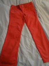 EUC JUSTICE GIRLS 10.5 10 1/2 PLUS CORAL PINK STRETCH JEANS 30 X 27 SIMPLY LOW