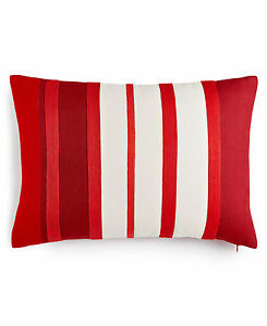 "Martha Stewart Rich Red Stripe Cotton 14"" x 20"" Decorative Pillow Bedding D536"