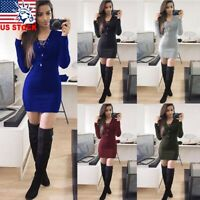 Women Bodycon Long Sleeve Knitted Sweater Ladies Mini Dress Party Casual Jumper