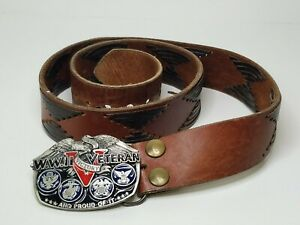 Vtg 1988 World War 2 Veteran Leather Belt & Buckle Made in USA Proud Military