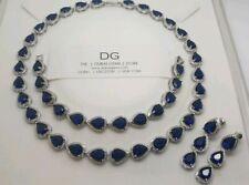 White gold finish sapphire & created diamond pearcut necklace earrings bracelet