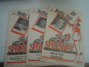 VINTAGE  BELLE VUE     SPEEDWAY PROGRAMMES    1957-1959    (3)