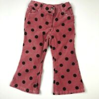 Mini Boden Girls Pink Brown Polka Dots Soft Corduroy Pants 3 Years
