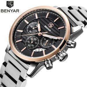 Men BENYAR Watch Business Date Chronograph Wrist Watches Stainless Steel Strap