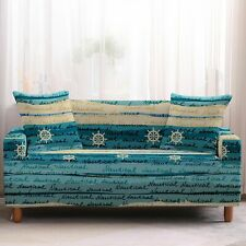 Teal Nautical Ocean Stripe Print Sofa Couch Cover Slipcover