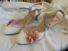 """Joe Browns White & Peach Pink Flower 3.5"""" High Heel Occasion Shoes in Size 7 UK"""
