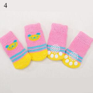4pcs New Warm Puppy Dog Shoes Soft Pet Knits Socks Cute Cartoon Anti Slip Socks