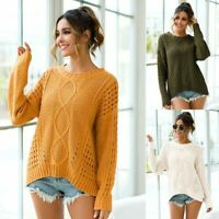 T-Shirt Pullover Casual Tops Long Sleeve Loose Womens Knit Shirt Sweater Knitted