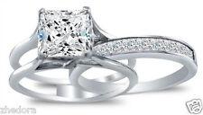 3.35 CT Princess Cut Engagement Bridal Ring band set Solid 14k White Gold
