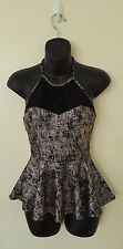 Women's Black Gold Dressy Sleeveless Peplum Halter Top, Size S, Must Have