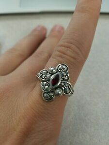 Avon Faux Marcasites Filigree Ring Ruby Red Stone Sz 10