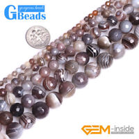 """Natural Botswana Agate Gemstone Faceted Round Beads Free Shipping 15""""4mm 6mm 8mm"""